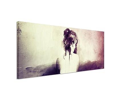 120 x 40 cm panorama quadro astratto su tela ritratto di donna