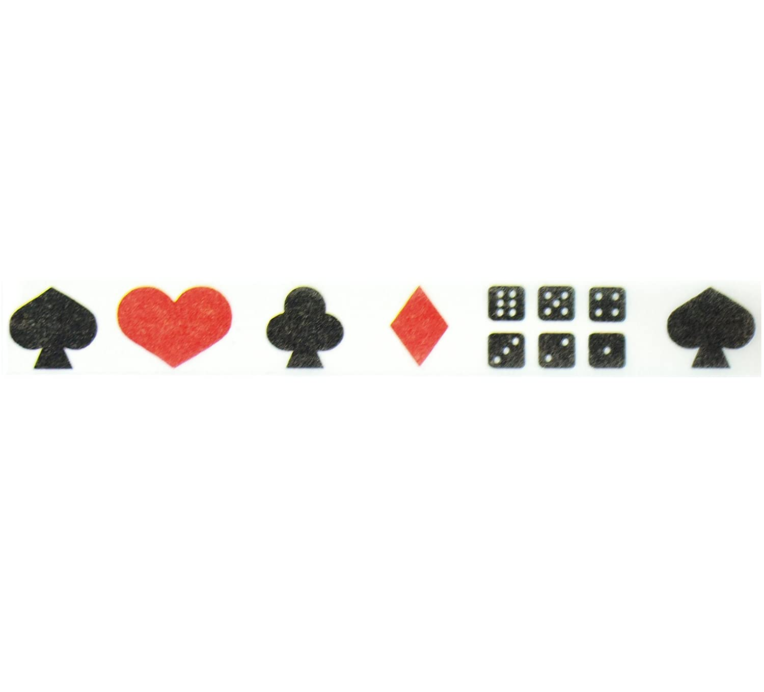"""Las Vegas Casino Washi Tape (1 Roll - 9/16"""" wide x 10.95 yards long) - Magic Party Supplies, Playing Cards Clear Tape, Black & Red Hearts, Spades, Clubs & Diamonds Sticky Tape"""
