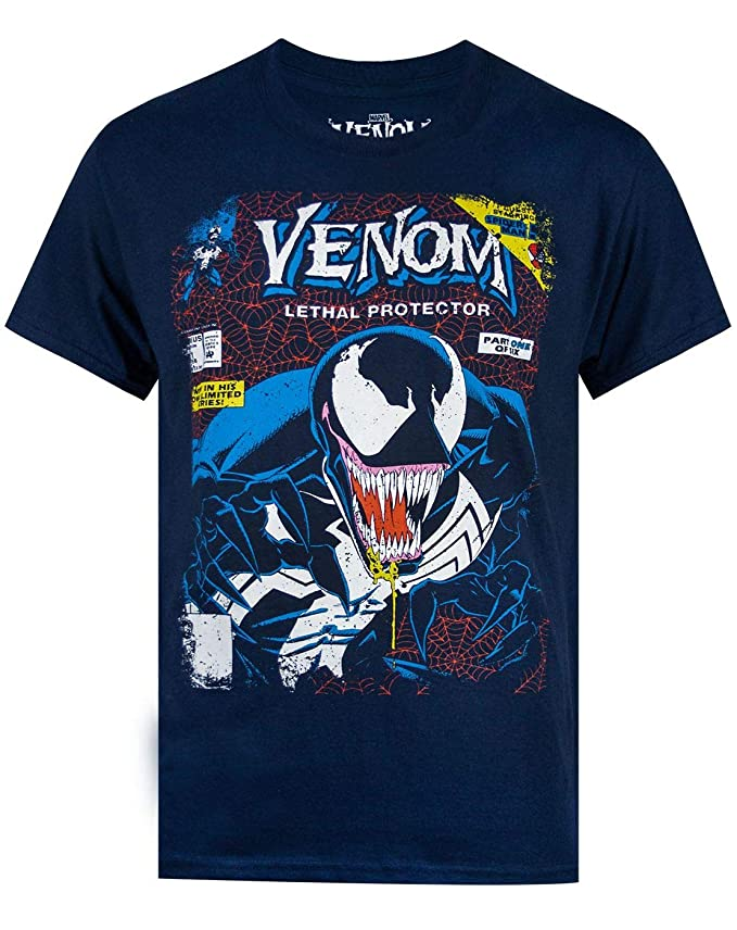 Marvel Venom Comic Cover Mens Navy T-Shirt: Amazon.es: Ropa y accesorios
