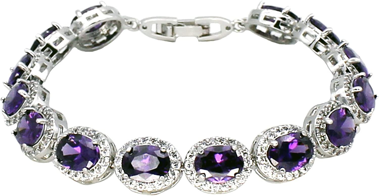 Oval Ladies Tennis Bracelet Inlay Garnet White Topaz Amethyst Citrine Peridot Pink Topaz 7 to 8 inch