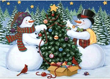 Round Drill Cross Stitch Christmas Cute Snowman Embroidery Art Craft for Canvas Wall Decor 30x40 cm DIY 5D Diamond Painting Kit