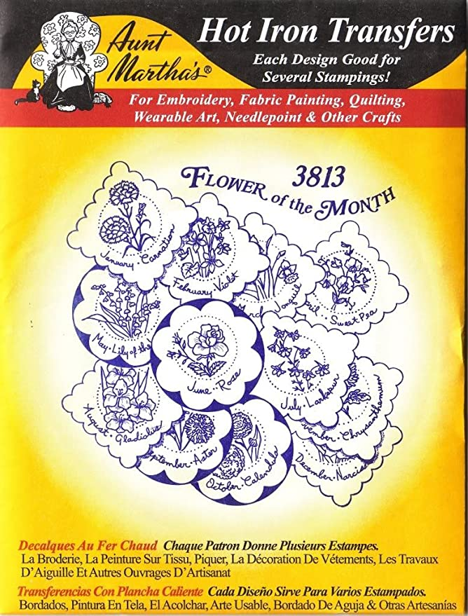 Aunt Martha 3923 Larkspur Hibiscus Iris Pansy FLORAL Embroidery Transfer Pattern