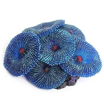Petamo Planta Coral Artificial Ornamento Silicona Decoración para Acuario Pecera Azul: Amazon.es: Hogar