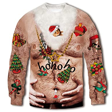 206e7f5b RAISEVERN Unisex 3D Fake Belly Digital Printed Ugly Sweater Funny Humorous  Graphic Christmas Sweatshirt Pullover Shirt