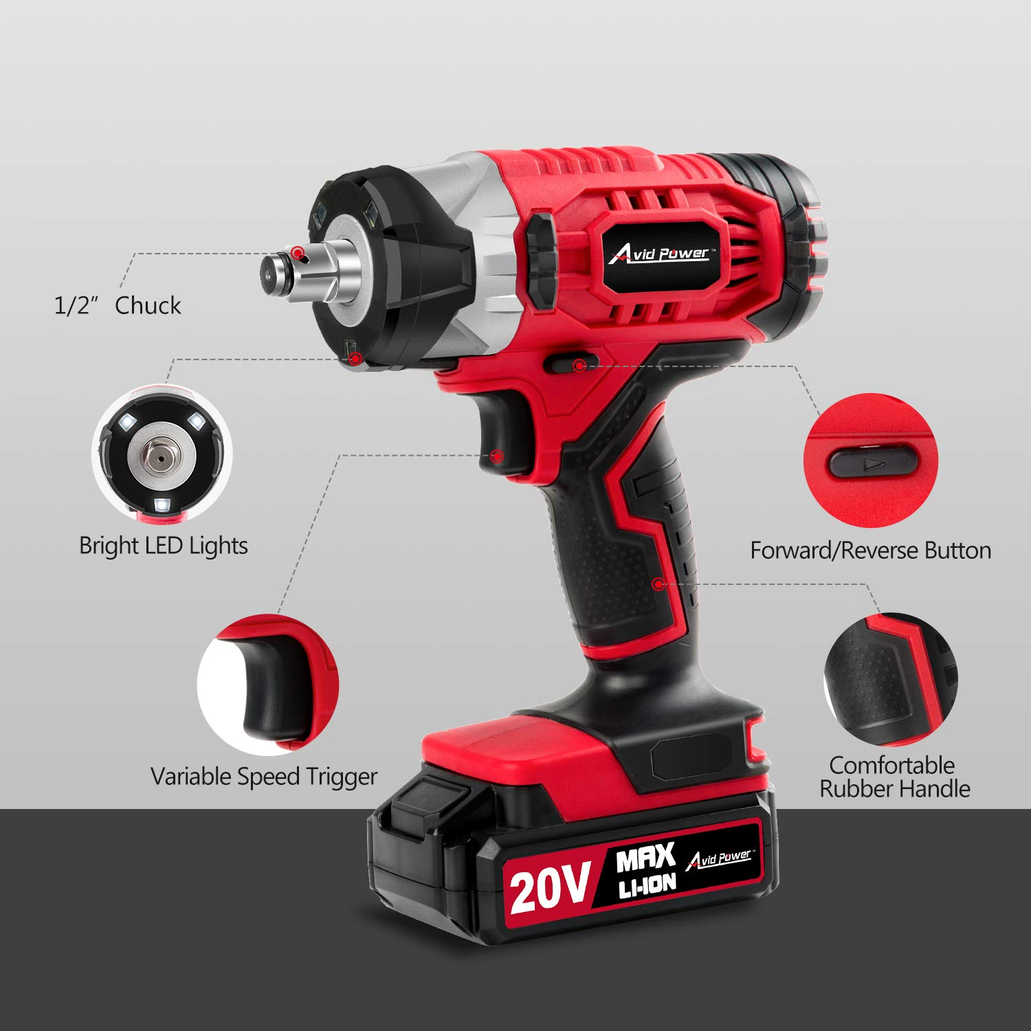 """20V MAX Cordless Impact Wrench with 1/2"""" Chuck, Max Torque 230N.m, 4Pcs Driver Impact Sockets, Tool Bag and 1.5A Li-ion Battery, Avid Power MCIW326 by Avid Power (Image #2)"""