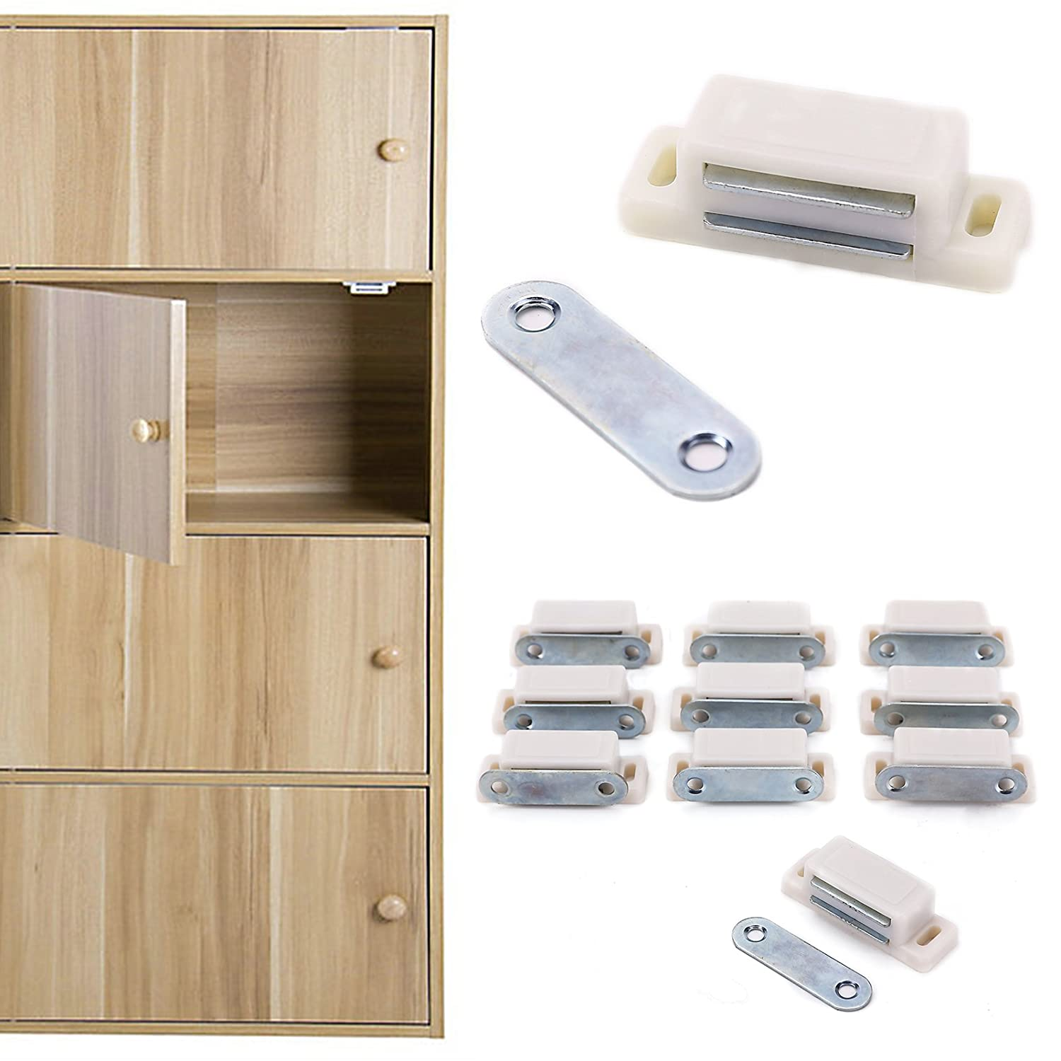10x Heavy Duty Cupboard Cabinet Door Magnetic Catch Latch Home