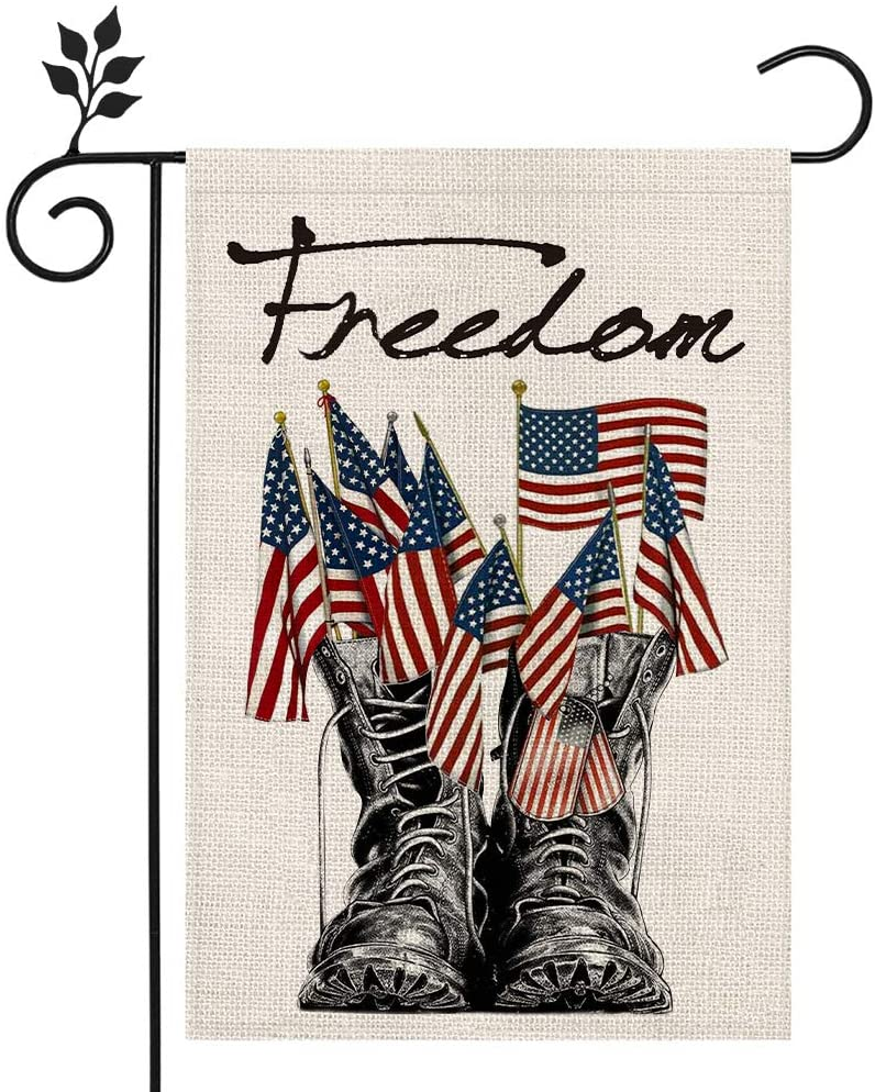 CROWNED BEAUTY Memorial Day Freedom Boots Garden Flag 12×18 Inch Double Sided 4th of July Independence Day Patriotic American Veteran Soldier Yard Outdoor Decor CF119-12