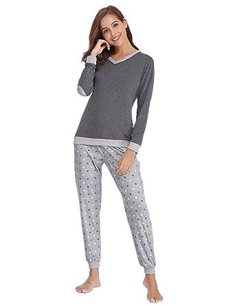 79e6be312c Aiboria Damen Schlafanzug Pyjama V-Ausschnitt mit Gepunkte Hose Baumwolle  Lang Freizeithosen Jerseyhose Schlafanzughose Set