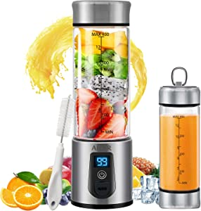 Portable Blender, Personal Smoothie Blender with USB Rechargeable, AHNR 15oz Small Mini Blender Juicer Mixer Travel Cup for Shakes,Smoothies,Fruit Vegetables Drinks (FDA, BPA Free)