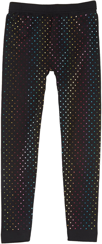 Capelli New York Girls Rainbow Foil Mini Hearts Fleece Lined Legging
