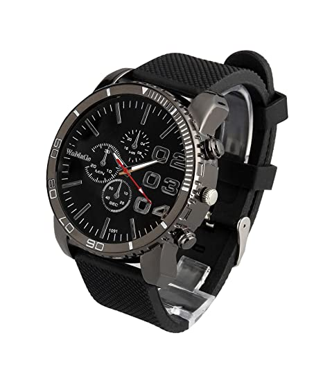 Amazon.com: ShoppeWatch Mens Black Wrist Watch Large Face 50mm Dial Silicone Band Reloj para Hombre Black 1091BK: Watches