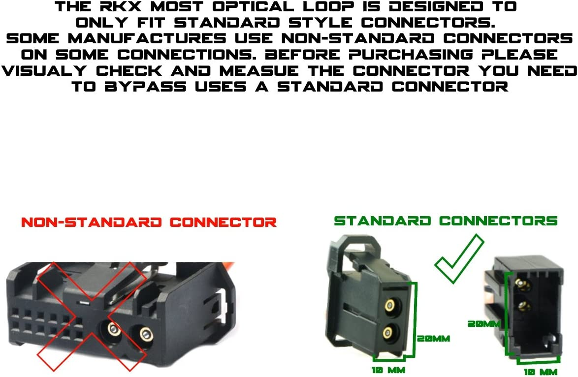 Audi BMW Porsche and Volvo RKX MOST fiber optic optical loop bypass Female adapter for Radio and Audio compatible with Mercedes