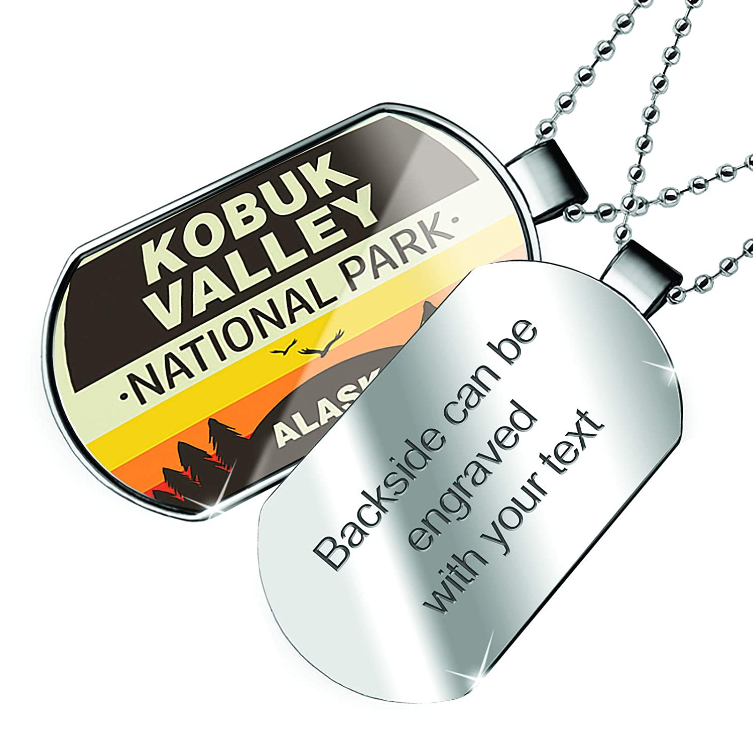 NEONBLOND Personalized Name Engraved National Park Kobuk Valley Dogtag Necklace