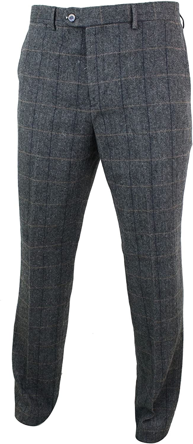 Mens Herringbone Tweed Check Peaky Blinders Trousers Wool Vintage Classic Retro