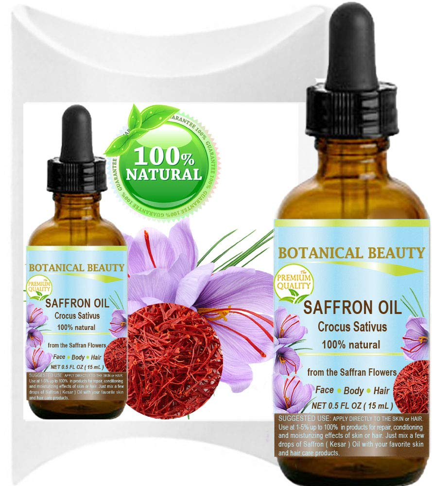SAFFRON OIL (KESAR) Crocus Sativus 100% Natural for Face, Skin, Body, Hair, Nail Care 0.5 Fl.oz.- 15 ml Healing, Antioxidant by Botanical Beauty