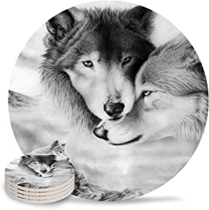 Wolf Coasters for Drinks Absorbent Couple Wolf Lean on Each Other Ceramic Coasters with Natural Cork Base Stone Coasters Perfect Housewarming Hostess Gift for Birthday,New Home,Living Room Decor 4pc