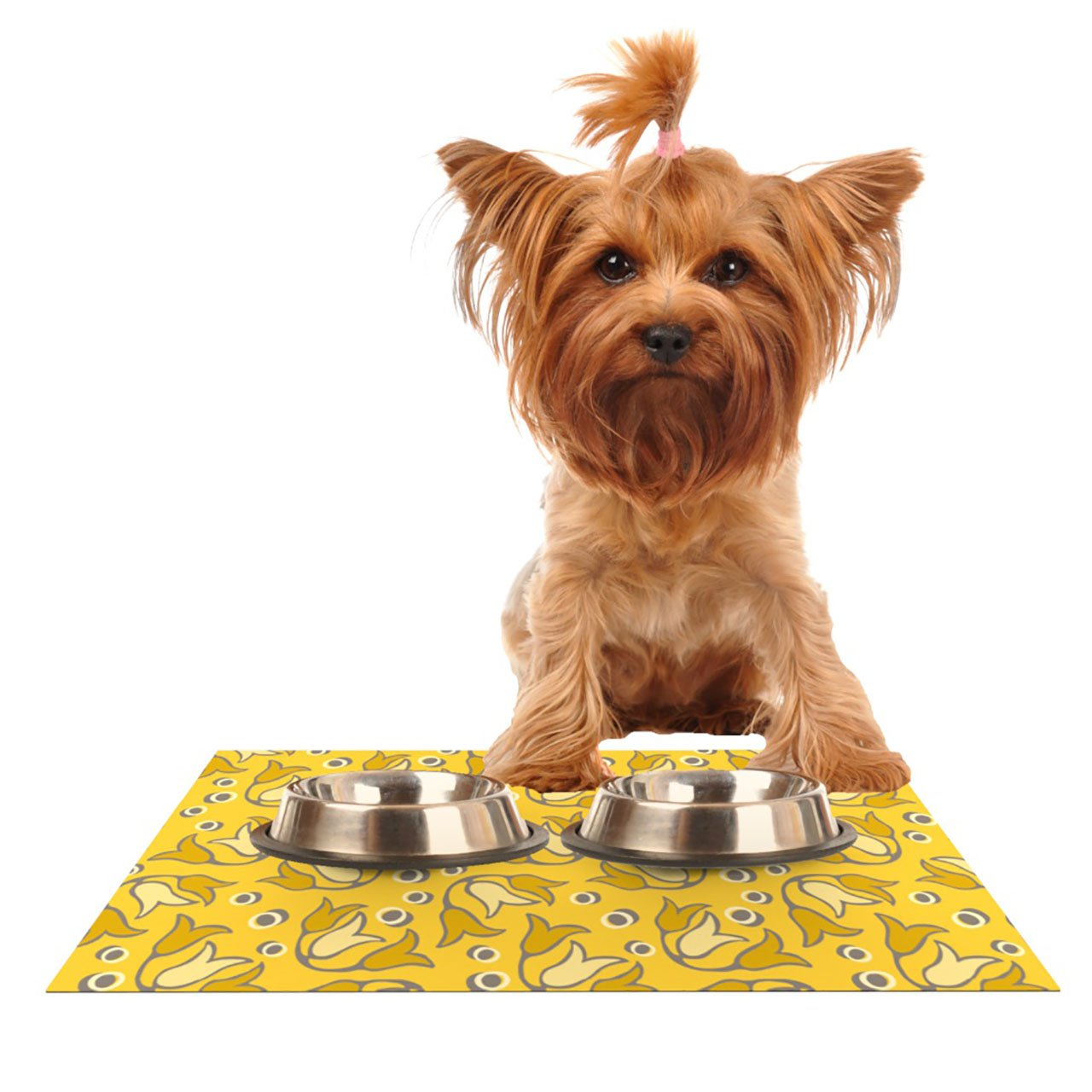 Kess InHouse Suzie Tremel Tulip Toss  Pet Bowl Placemat for Dog and Cat Feeding Mat, 18 by 13-Inch, Yellow Petals