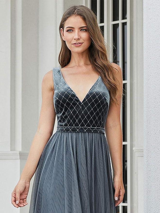 Ever-Pretty Damska Abendkleid Samt Tüll A-Linie Abschlusskleid V Ausschnitt rückenfrei lang 00999: Odzież