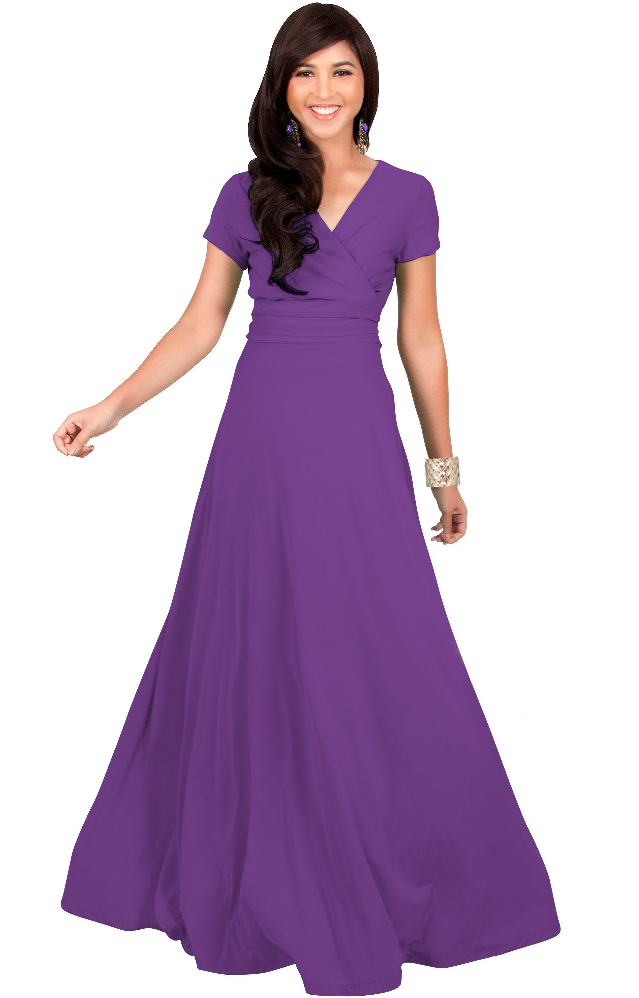 7f90773e54 KOH KOH Womens Long Cap Short Sleeve V-Neck Flowy Cocktail Slimming Summer  Sexy Casual Formal Sun Sundress Work Cute Gown Gowns Maxi Dress Dresses