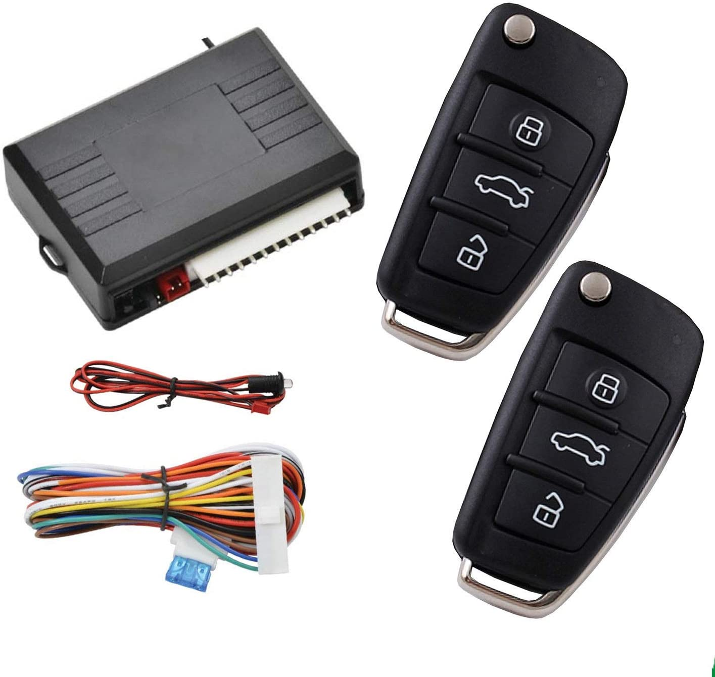 Contorl Box MASO Car Central Lock Universal Auto Remote Central Kit Vehicle Door Lock with Shock Sensor 2 Replacement Remote Contorl for Car Central Door Lock