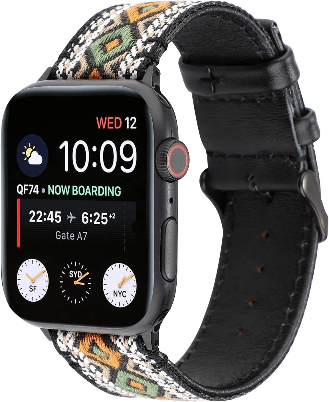 WONMILLE Compatible with Apple Watch Band Women 38mm 40mm, Handmade Weave Straps National Rainbow Bracelet for iWatch Straps Series 5,Series 4,Series 3,Series 2,Series 1 (38mm/40mm, Retro)