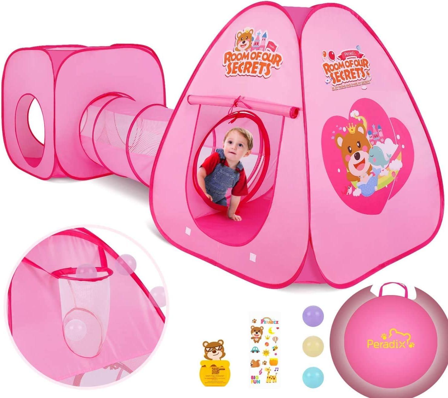 Peradix Tienda de Campaña Infantil con Tunel para Niños,Tiendas de Campaña para Niños,Tunel Infantil con Canasta y Bolas,Jugar Tienda para Interiores/Exteriores Playhouse