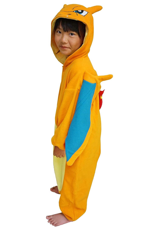 SAZAC Kigurumi 5-9 Year Old Charizard Orange Kids Size Pokemon Onesie Jumpsuit Halloween Costume