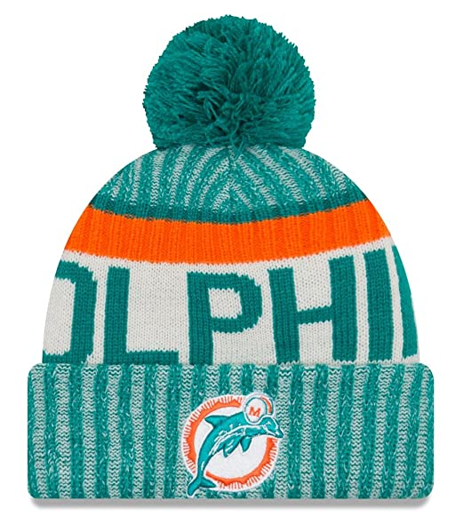 newest 3fc8c c0b8d Image Unavailable. Image not available for. Color  Miami Dolphins New Era  2017 NFL Sideline On Field  quot Historic quot  Sport Knit Hat
