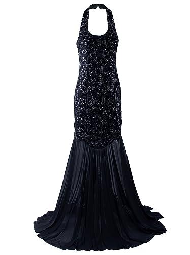 Vijiv 1920s Halter Mermaid Evening Dress For Women Formal Long Prom Dress