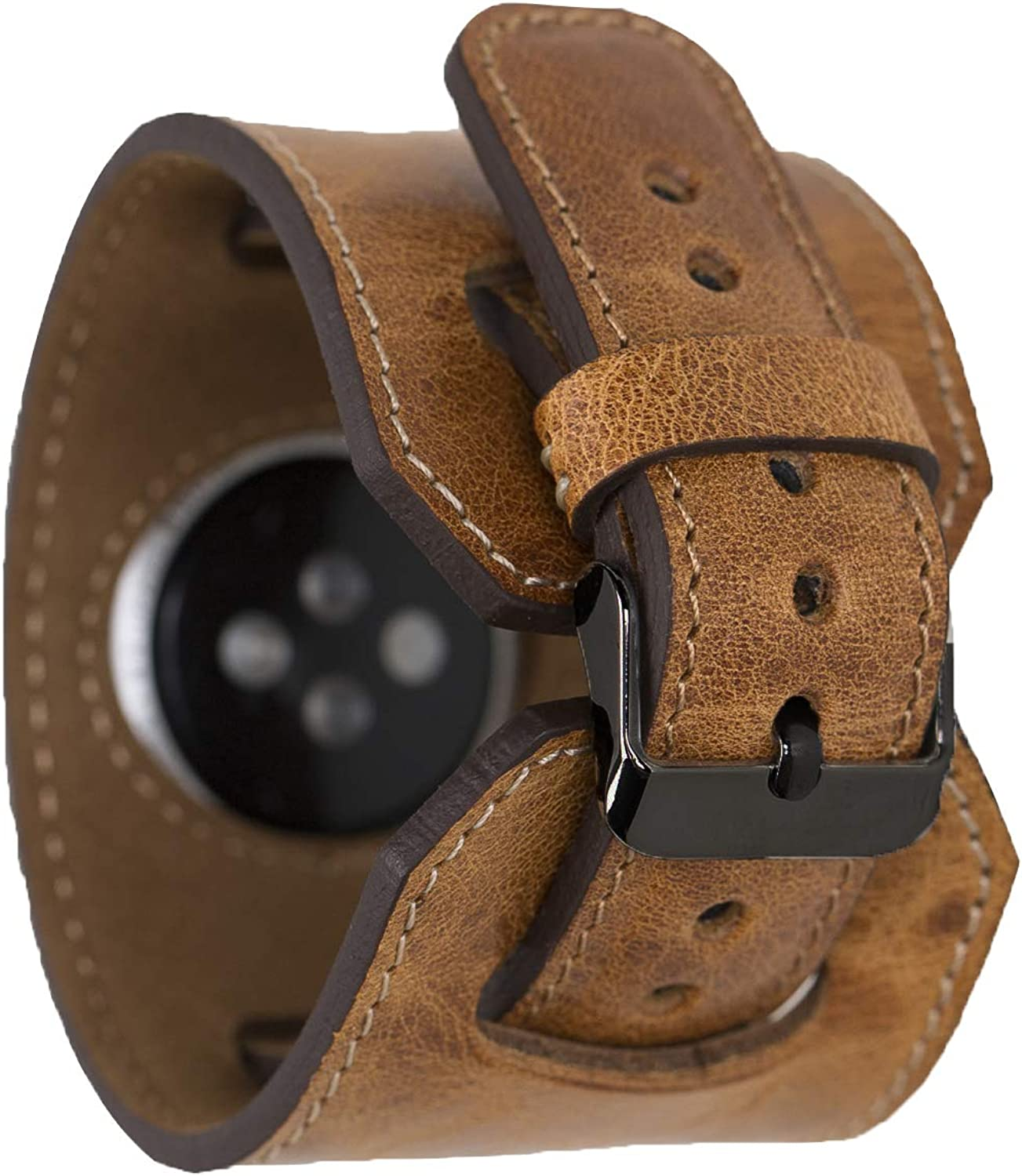 Genuine Leather Cuff Style Band 44mm 42mm 40mm 38mm, Leather Band for Women Men Strap Bracelet for iWatch series 5 4 3 2 1