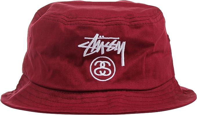 61cb1f762a4 Stussy Stock Lock Bucket Hat - Burgundy-S-M  Amazon.co.uk  Clothing
