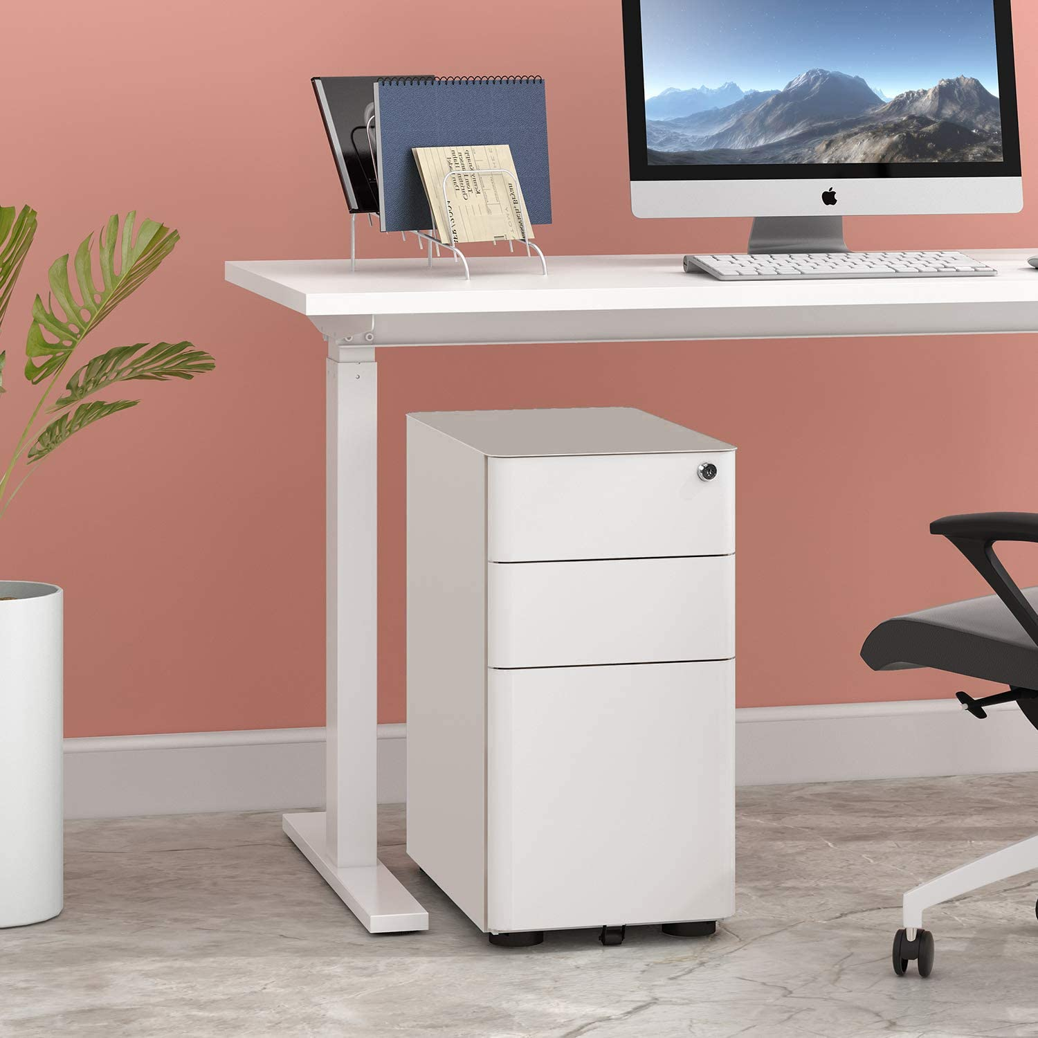 DEVAISE 3-Drawer Slim Vertical File Cabinet, Fully Assembled Except Casters, Legal/Letter Size, White : Office Products