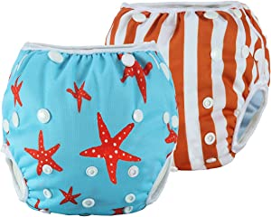 Anmababy 2 Pack Reusable Swim Diaper, Adjustable and Washable Ultra-Premium Quality Baby Swim Diapers for Baby Shower Gifts & Infant Swimming Lessons. Fit for 0-2 Years(8-35LB) (S, Red)