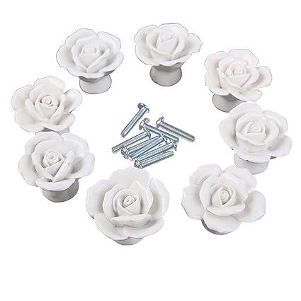 CSKB White Flower Rose Door Knobs + Screw Floral Vintage Ceramic ...