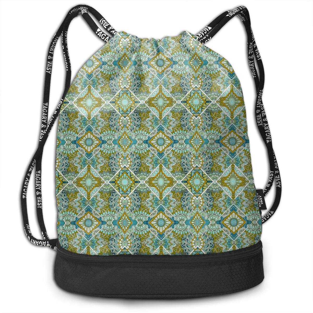 Flowers Everywhere Teal Gold Drawstring Backpack Sports Athletic Gym Cinch Sack String Storage Bags for Hiking Travel Beach