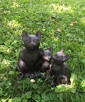 Antikas - familia de gatos, gatitos lindos, decoración puerta de la casa, figuras de animal decorativas: Amazon.es: Jardín