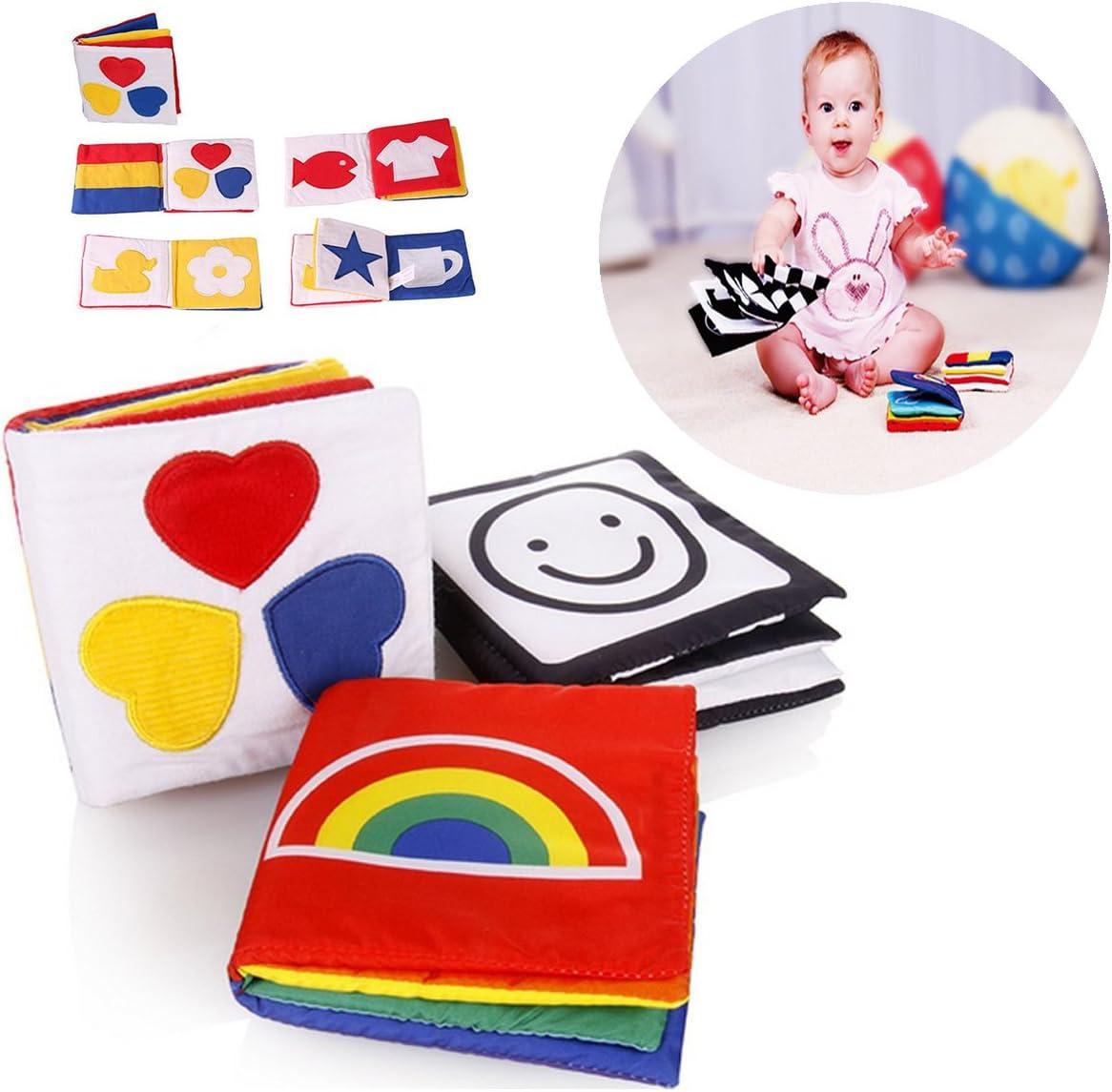 Itian Pequeño Bebé Libro de Pño, Tejido Blando Papel del Bebé Educación Temprana y Desarrollo de Juguete (Conjunto de 3 Libros)