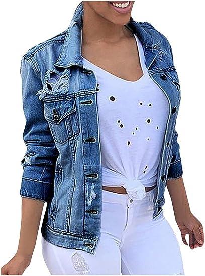 Minetom Femme Automne Denim Blousons Manches Longues Retro Bouton Veste Jeans Lavés Manteaux