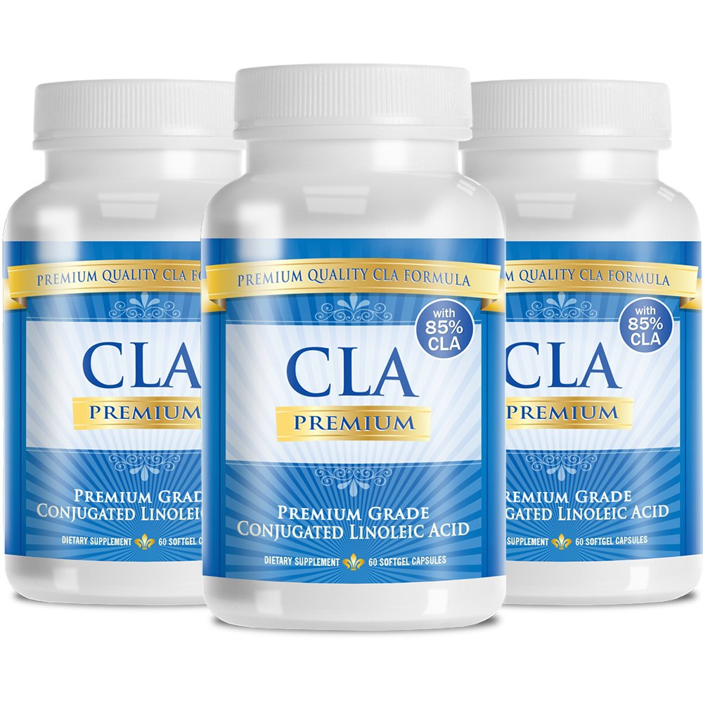 CLA Premium derived from Safflower Oil - Natural Weight Loss with 85% Pure Conjugated Linoleic Acid - 2000mg, 180 Softgel Capsules, 3 Months Supply- 90 Days, 100% Money Back Guarantee