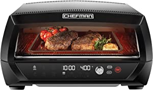Chefman Food Mover Conveyor Toaster Oven, Moving Belt for Toasting Bread & Bagels, Stainless Steel w/ Adjustable Temperature, Extra Large, 6 Cooking Functions: Toast, Bagel, Bake, Broil, Pizza & DIY