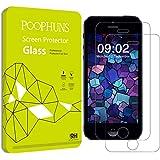 POOPHUNS iPhone 5 5s 5c SE Protector de Pantalla, 2-Pack, Vidrio Cristal Templado Premium para iPhone 5 5s 5c SE, Ultra Resistente a Golpes y Rayado, Alta Transparencia, Sin burbujas