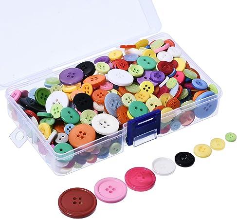 con Contenitore in plastica Colori e Misure Assortiti 2/e 4/Fori Outus 500/Bottoni in Resina Rotondi