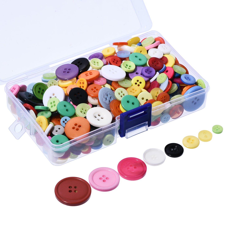 Outus 500bottoni in resina rotondi, con contenitore in plastica, 2e 4fori, colori e misure assortiti