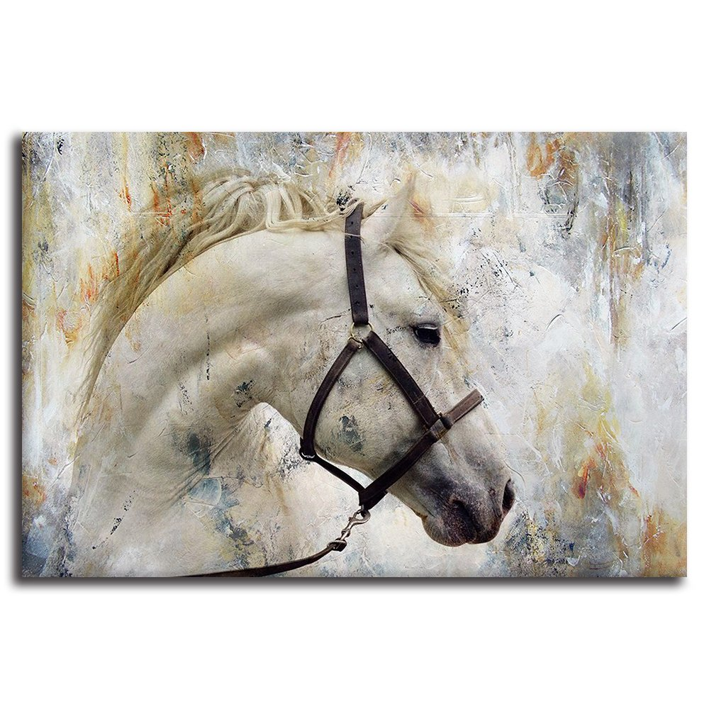 BYXART Horses Wall Decor Modern Animal Framed Posters Artwork Canvas Prints Painting Pictures Wall Art for Living Room Home Decoration Ready to Hang (Grey, 16x24in)