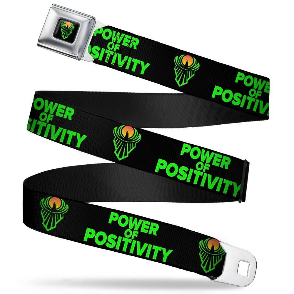 1.5 Wide The New Day Icon//POWER OF POSITIVITY Black//Green//Orange Buckle-Down Seatbelt Belt 32-52 Inches in Length