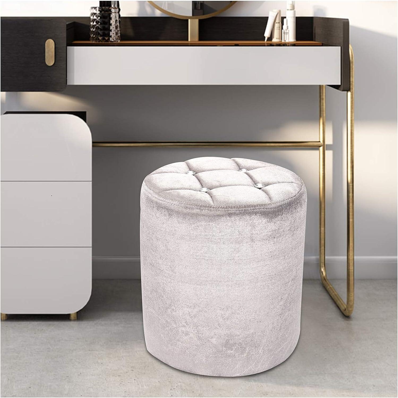 Ballshop Bedroom Chairs & Stools Mini Dressing table stool mini chair round  Footrest silver crushed velvet diamante 4X4CM