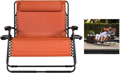 Exxtra Store 2 Person Terracotta Lounge Folding Chair Zero Gravity Oversized Accessory Trays Ebook