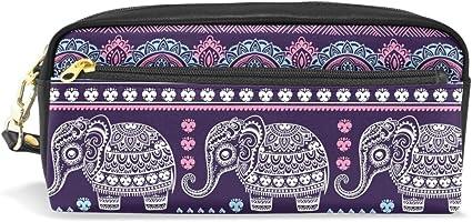 CPYang - Estuche étnico de piel para lápices, diseño de elefante indio: Amazon.es: Oficina y papelería
