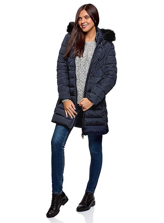 oodji Ultra Mujer Abrigo Cálido con Parte Acolchada Combinada b9dd62f2eac7