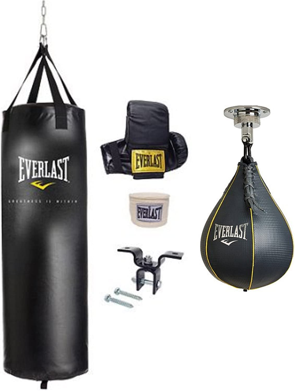 6 Piece Boxing Speed Bag Kit Swivel Punching Stand Workout Gloves Hand Wraps